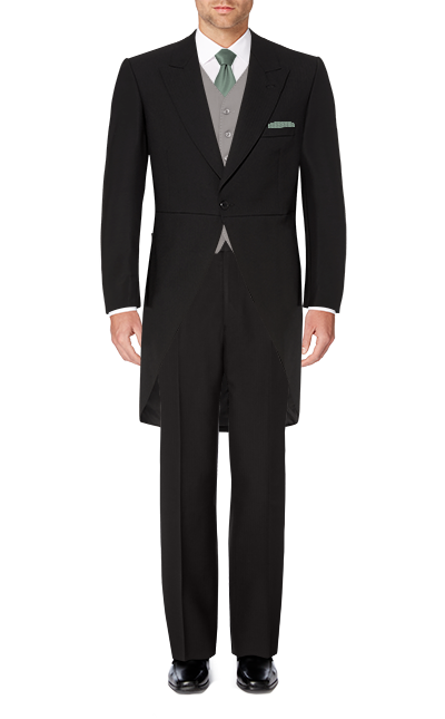 Recommended Suit - Black Herringbone Tailcoat